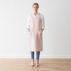 Grembiule in lino Rosa Pinafore Stone Washed