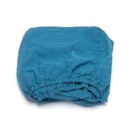 Sea Blue Lenzuolo con Angoli in Lino Stone Washed