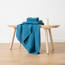 Set di Asciugamani da Bagno in Lino Sea blue Washed Waffle