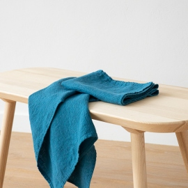 Set di 2 Asciugamani da Mano in Lino Sea Blue Washed Waffle