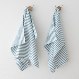 Set di 2 Marine Blue Asciugamani da mano in Lino Brittany