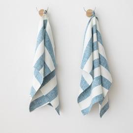 Set di 2 Marine Blue Asciugamani da mano in Lino Philippe