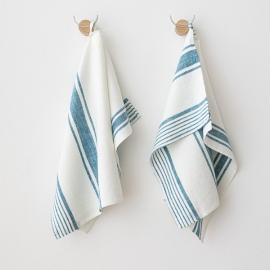 Set di 2 Marino Blu Asciugamani da Mano in Lino Tuscany
