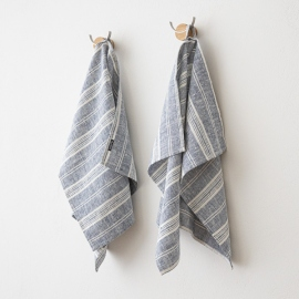 Set di 2 Indigo Asciugamani da mano in Lino Multistripe