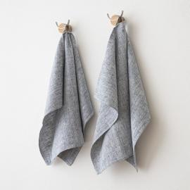 Set di 2 Indigo Asciugamani da mano in Lino Francesca
