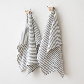 Set di 2 Indigo Asciugamani da mano in Lino Brittany