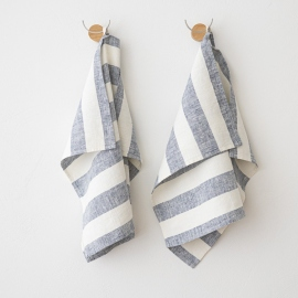 Set di 2 Indigo Asciugamani da mano in Lino Philippe