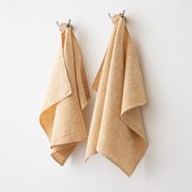 Set di 2 Gold Asciugamani da mano in Lino Francesca