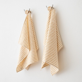 Set di 2 Gold Asciugamani da mano in Lino Brittany