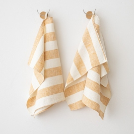 Set di 2 Gold Asciugamani da mano in Lino Philippe
