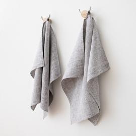 Set di 2 Graphite Asciugamani da mano in Lino Francesca