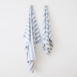 Telo mare in lino Philippe bianco blu