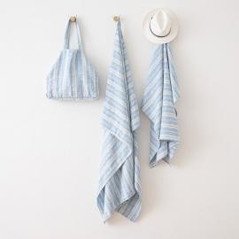 Telo mare in lino Multistripe Blu Bianco