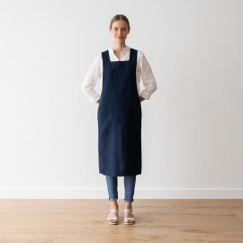 Grembiule in lino Navy Blue Pinafore Stone Washed