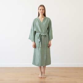 Accappatoio spa green in lino Washed Waffle