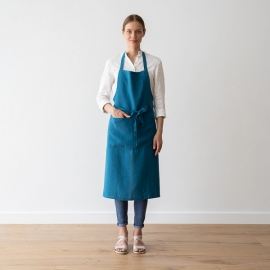 Grembiule in lino Sea Blue BIB stone washed