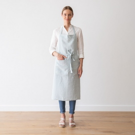 Grembiule in lino Ice Blue BIB stone washed