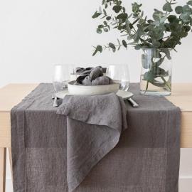 Guida da tavolo in lino Stone Washed Steel Grey