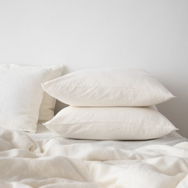 Off White Washed Bed Linen Pillow Case