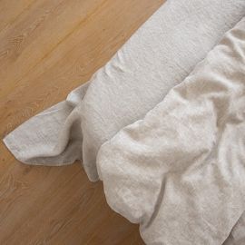 Off White Washed Crushed Linen Flat Sheet