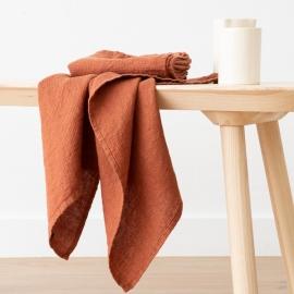 Set di 2 Asciugamani da Mano in Lino Rust Washed Waffle