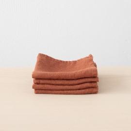 Set di 4 Brick Asciugamani da Viso di lino Waffle