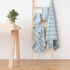 Set di Asciugamani da Bagno in Lino Marine Blue Multistripe