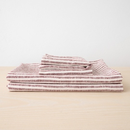 Set asciugamani da bagno in lino cherry Brittany