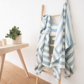 Set di Asciugamani da Bagno in Lino Marine Blue Philippe