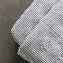 Graphite Lenzuolo con Angoli in Lino Ticking Stripe