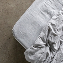 Graphite Lenzuolo con Angoli in Lino Pinstripe Washed