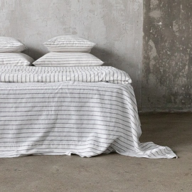 Graphite Lenzuolo in Lino Stripe Washed