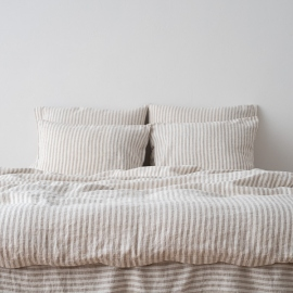 Natural  Set di Biancheria da Letto in Lino Ticking Stripe