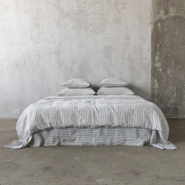Graphite Set di Biancheria da Letto in Lino Ticking Stripe
