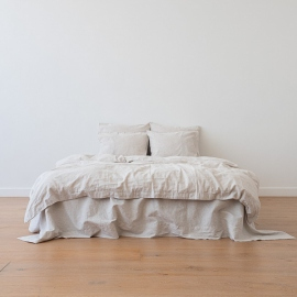 Natural Set di Biancheria da Letto in Lino Pinstripe Washed