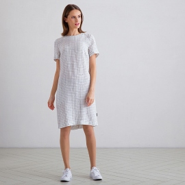 Off White Navy Check Abito Lino Isabella