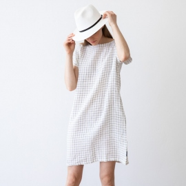 White Navy Checked Abito Lino Alice