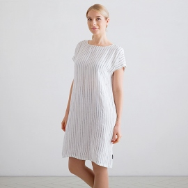 White Navy Stripe Medium Abito Lino Alice