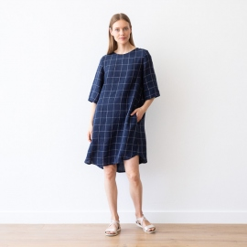 Navy Off White Window Pane Abito Lino Luisa
