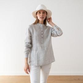Silver Pinstripe Camicia in Lino Toby