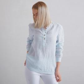 Sky Blue Pinstripe Camicia in Lino Toby