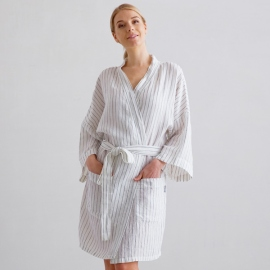 Off White Navy Stripe Medium Vestaglia Corta Lino Alma