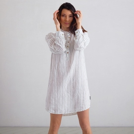 Off White Navy Stripe Medium Camicia da Notte Lino Alma