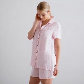 Pink Pinstripe Pigiama Lino Emilia