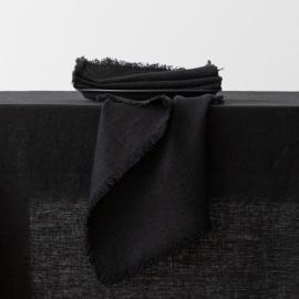 Tovagliolo Terra in Lino Black con frangia fatta a mano
