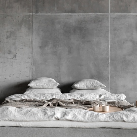 Silver Copripiumino in Lino Stone Washed Rhomb