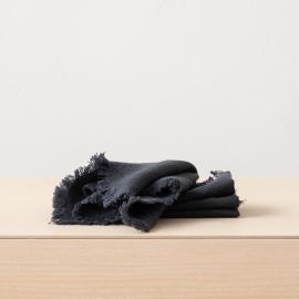 Tovagliolo Terra in Lino Charcoal con frangia fatta a mano