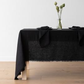 Tovaglia Terra in Lino Black con frangia fatta a mano