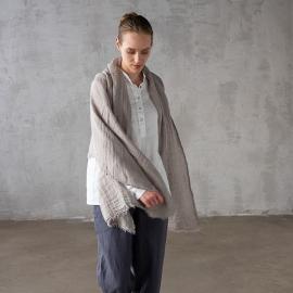 Taupe Frange Garza in scialle di lino