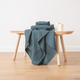 Set di Asciugamani da Bagno in Lino Balsam Green Washed Waffle